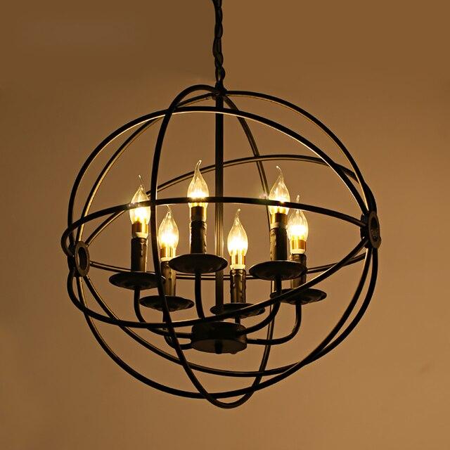 Современный промышленный Лофт Светодиодный Люстра Освещение Металлический Глобус E14 подвесные светильники винтажный шар Декор для клетки подвесные светильники