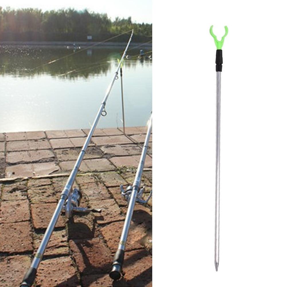 Aluminium 1.04M 12cm 2 Sections Fishing Holder Adjustable Fishing Rod Tone Metal Fishing Rod Pole Holder Rack Stand
