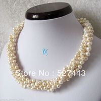 Wholesale fast 16 3 7mm 5Row White Freshwater Pearl Necklace Off Round Choker Jewelry AAA