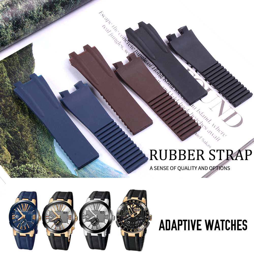 26*20mm Wholesale Black Brown Blue Waterproof Silicone Rubber Replacement Wrist Watch Band Strap Belt For Ulysse Nardin Watch