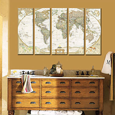 personalized canvas print stretched canvas art decor for living room world map 20x60cm 30x90cm wall art