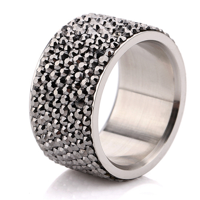 Wholesale 7 Row Jet Hematite Crystal 316L Stainless Steel Jewelry Ring Christmas