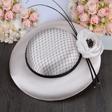2016 Classic Spring Summer Royal Lady Party Fedora Dress Hat Flower Net Wedding Hat Fascinator For Church Cocktail Banquet