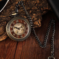 Bronze Copper Wood Mechanical Pocket Watches Chains for Men Hollow Engraved Mechanical Fob Watch Steampunk Men Clock Hour Gifts