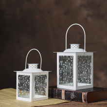 PINNY Modern European Iron Glass Candle Holders Romantic Metal Lanterns For Decoration Candles Moroccan Style Lamp