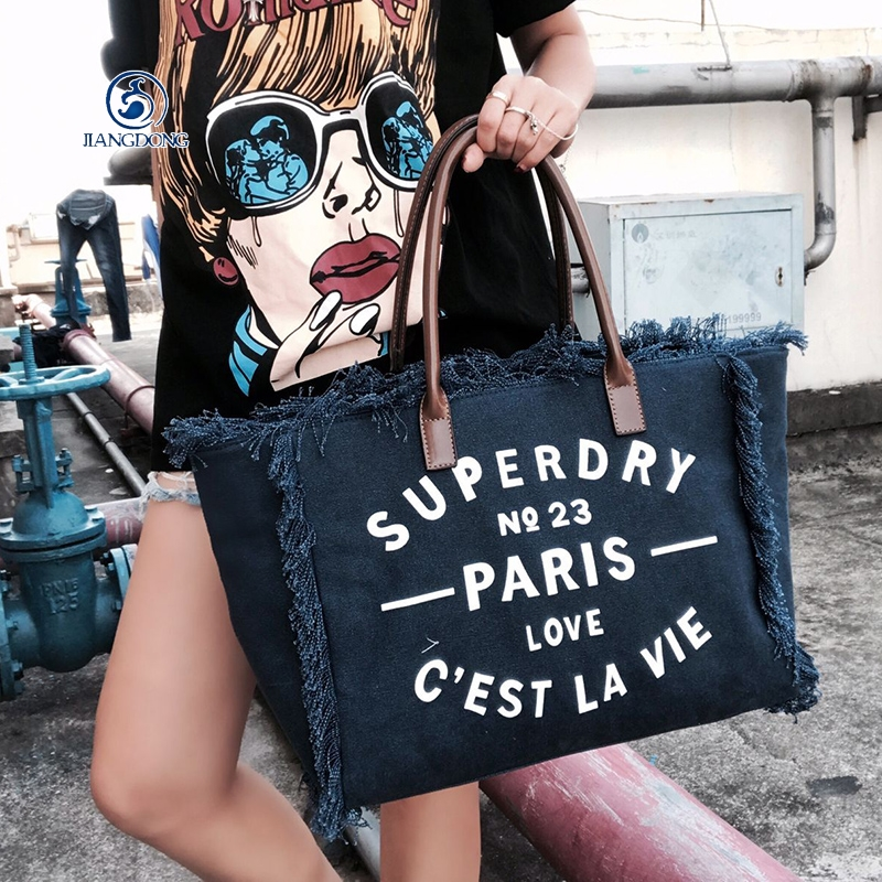 JIANGDONG Vintage Large Capacity Canvas Bags Shoulder Bag Letter Printed Cowboy Shopping Bag Tassel Shoulder Bag Bolsa Feminina forudesigns casual women handbags peacock feather printed shopping bag large capacity ladies handbags vintage bolsa feminina