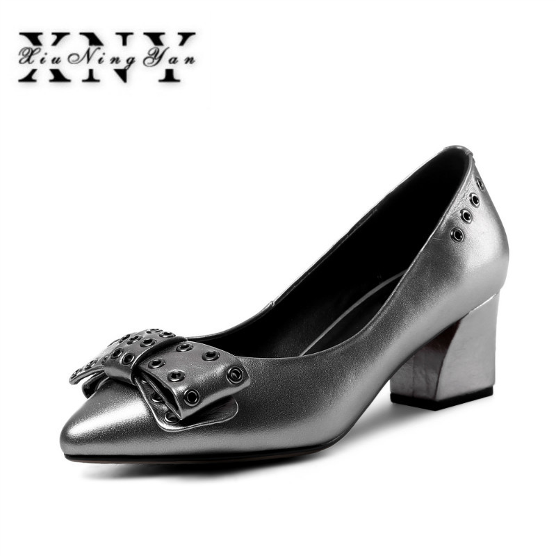 XIUNINGYAN Women Pumps Spring Autumn Pointed Toe Shallow Slip-on Dress Pumps Shoes Thick Heels Cow Leather Ladies Shoes Female mrs win spring autumn sexy low heel shoes pointed toe patent leather shallow slip on women s pumps shoes ladies single shoes