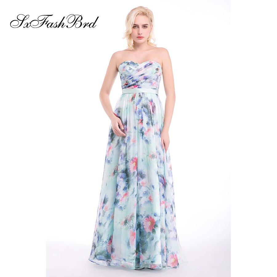 Vestido De Festa Sweetheart A Line Summer Print Flower Chiffon Long - Հատուկ առիթի զգեստներ - Լուսանկար 4