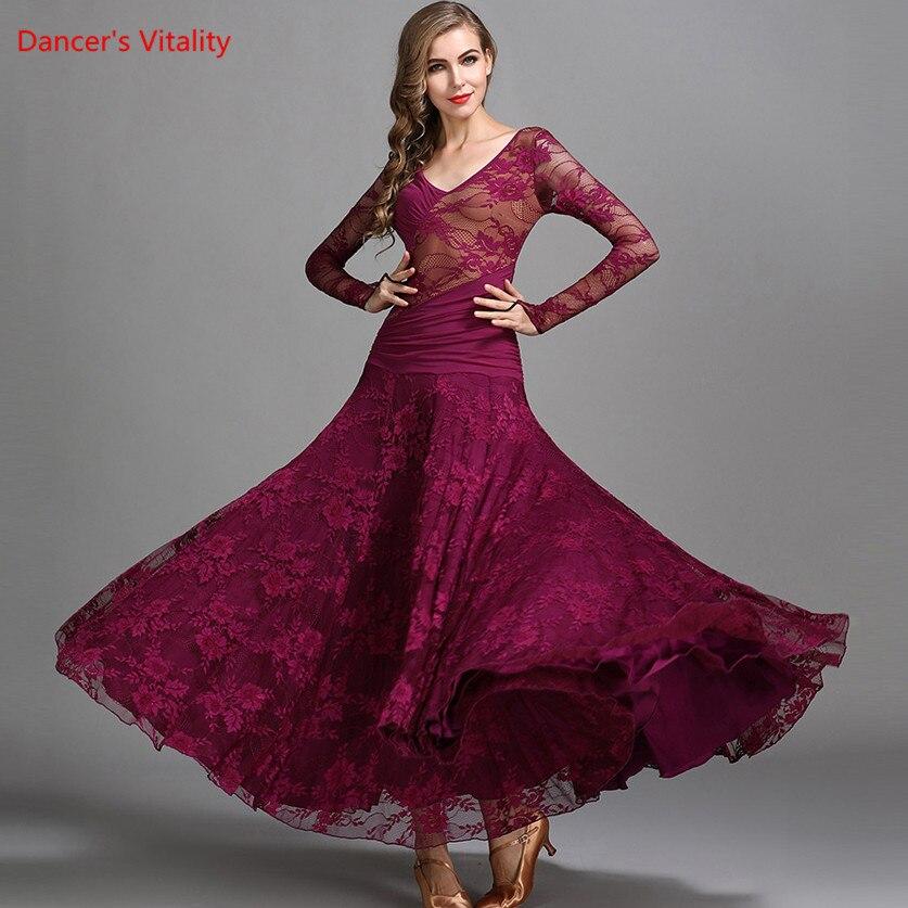 Ballroom Dance Dress Performance Clothing Lace Chiffon Big Swing Dresses Women Latin Ballroom Waltz Competition Costumes