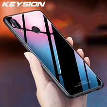 KEYSION for Xiaomi Redmi Note 7 6 5 Pro Case Luxury Glossy Tempered Glass Soft TPU Shockproof Hard Phone Cover Xiomi