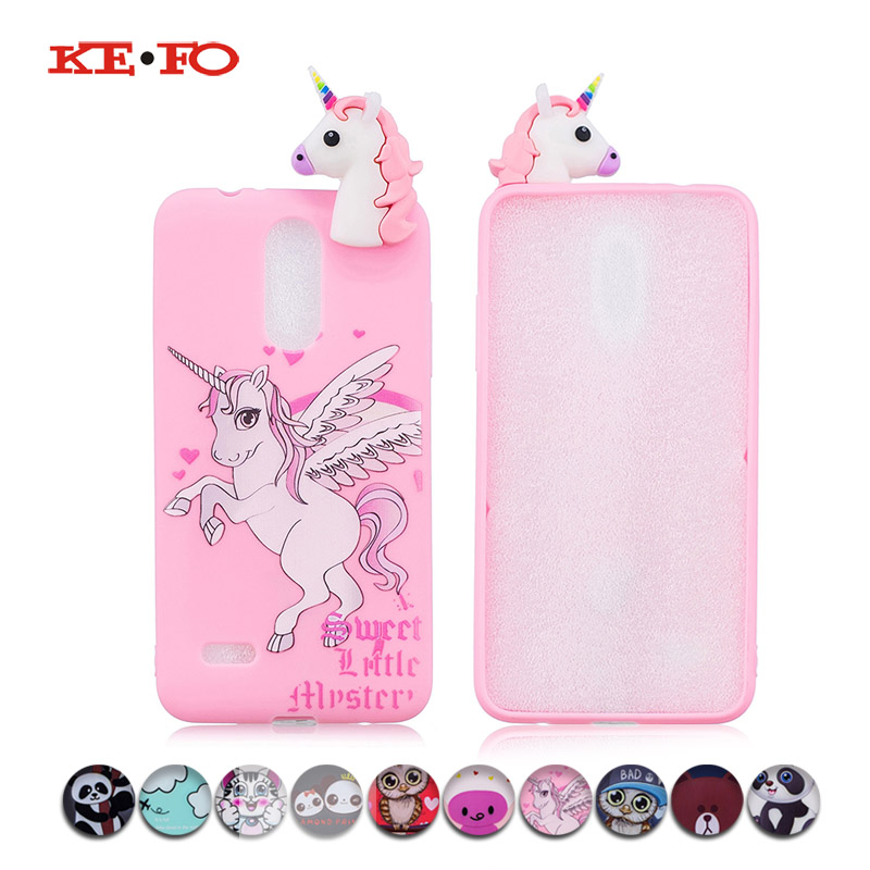 KEFO Phone Cases For LG K10 2017 Squishy 3D Cute Animal Unicorn Owl Panda Cat Bear Cover For LG K4 K8 2017 Soft TPU Coque Shell