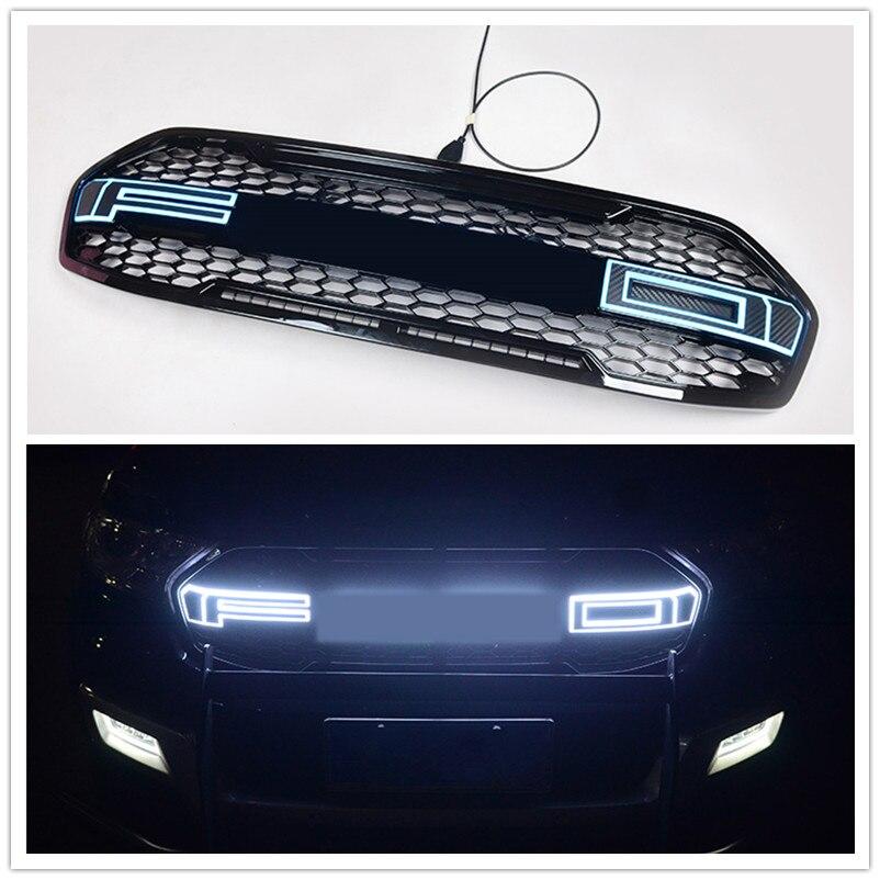 Propre DESIGN modifié TOP qualité lettres LED GRILLE GRILLE brillante noir avant gril de course Fit pour Everest enterprise car 2015-2018