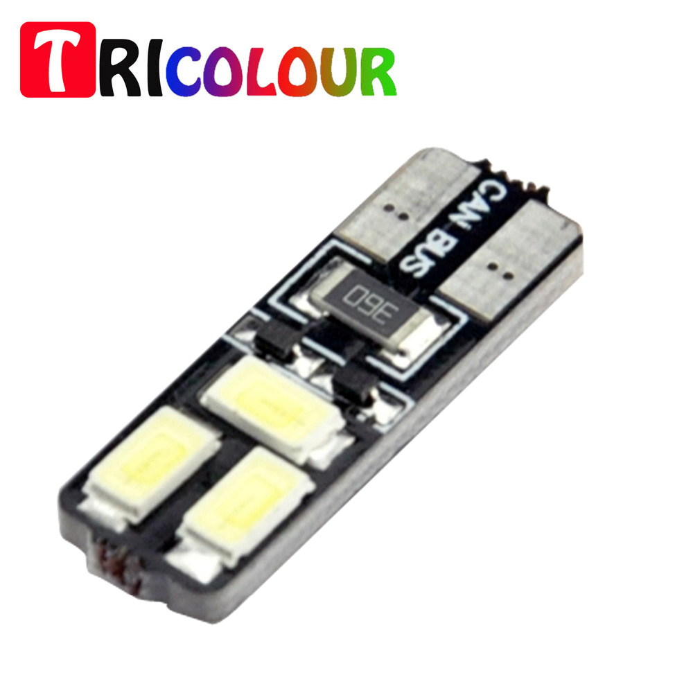 TRICOLOUR 10pcs T10 5630 Canbus 6 smd 6led Error Free Courtesy Liscense Plate Door Light Bulb white DC12V #TB62
