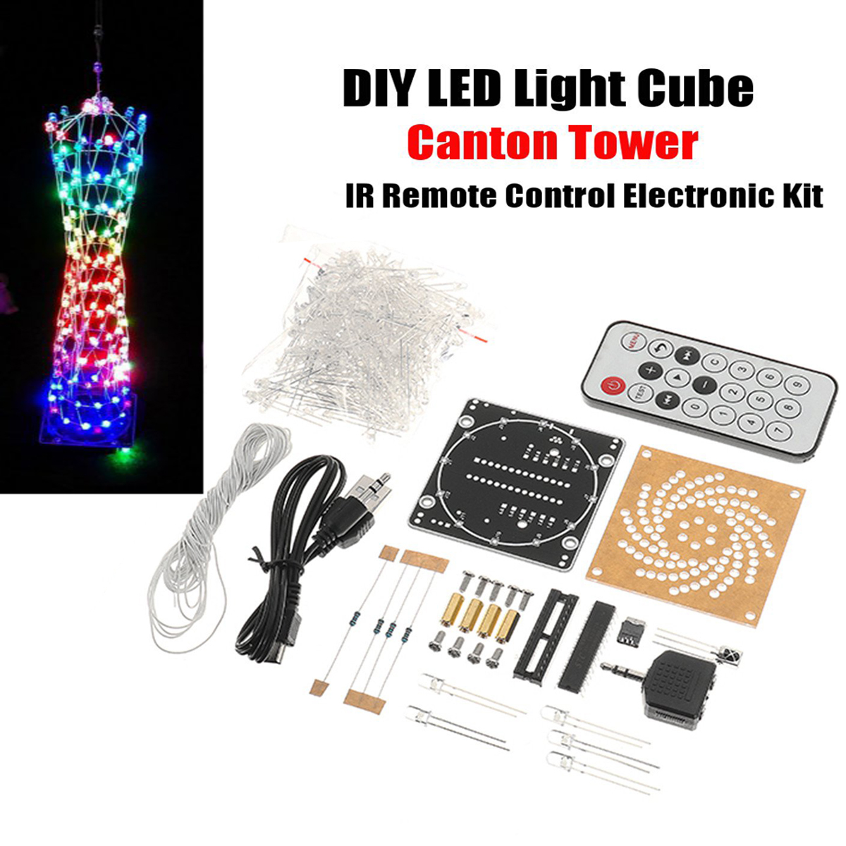 DIY Little Colorful LED Light Cube Canton Tower Suite IR Remote Control Electronic Kit Module