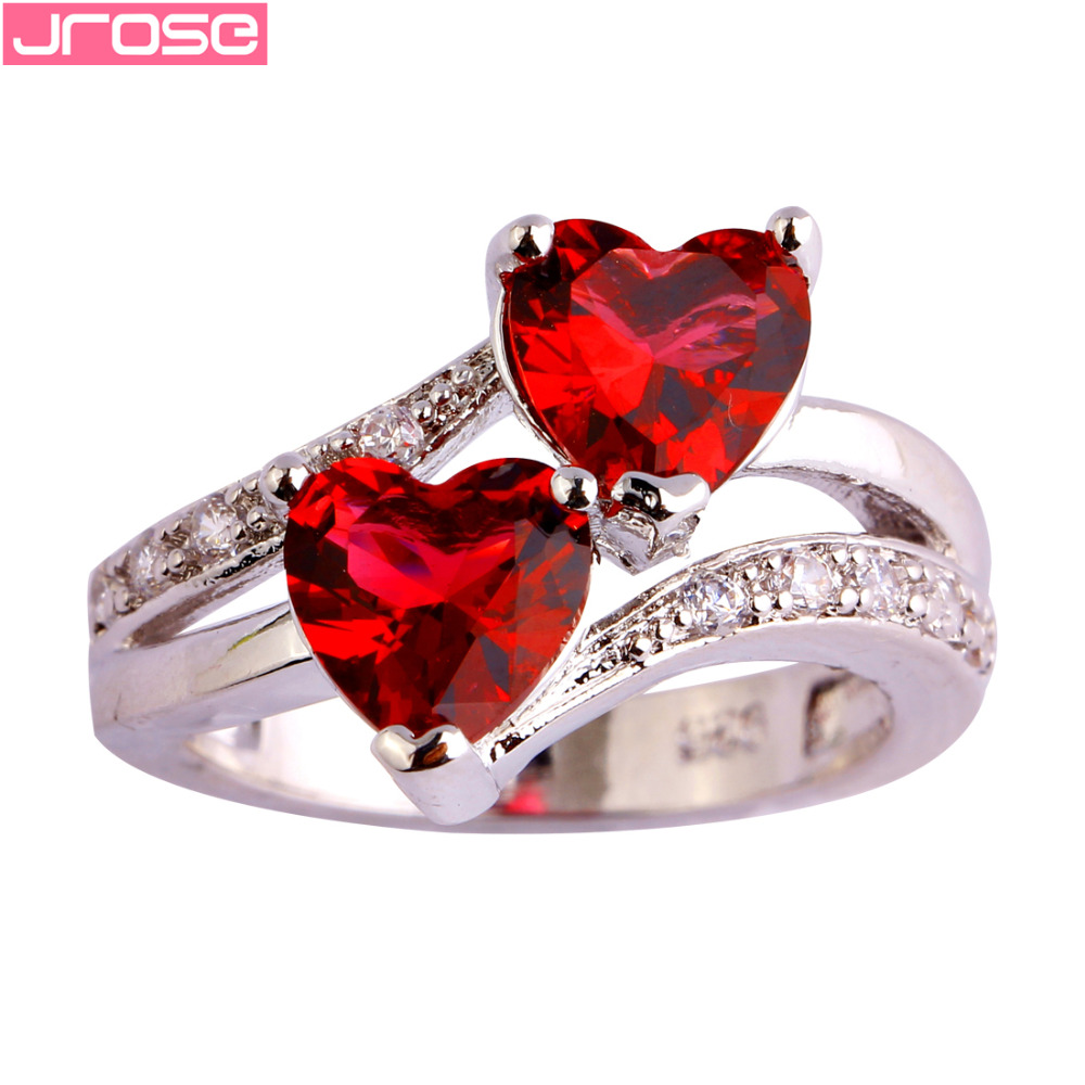 JROSE Wedding Heart Cut Red & White Cubic Zirconia Silver Ring Size 5 6 7 8  9 10 11 12 13 Romantic Beautiful Women Gifts