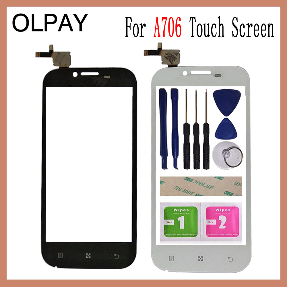 OLPAY 4.5'' Touch Screen For Lenovo A706 A 706 Touch Screen Digitizer Panel Front Glass Lens Sensor Tools Adhesive+Wipes