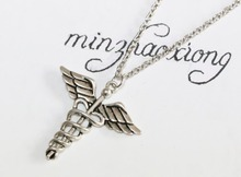 ФОТО  Antique Silver Angel Wing God Snake Caduceus Necklace Pendant Charm Jewelry 10
