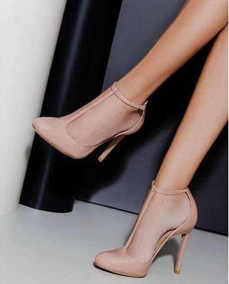 Customized Nude Leather Women Shoes