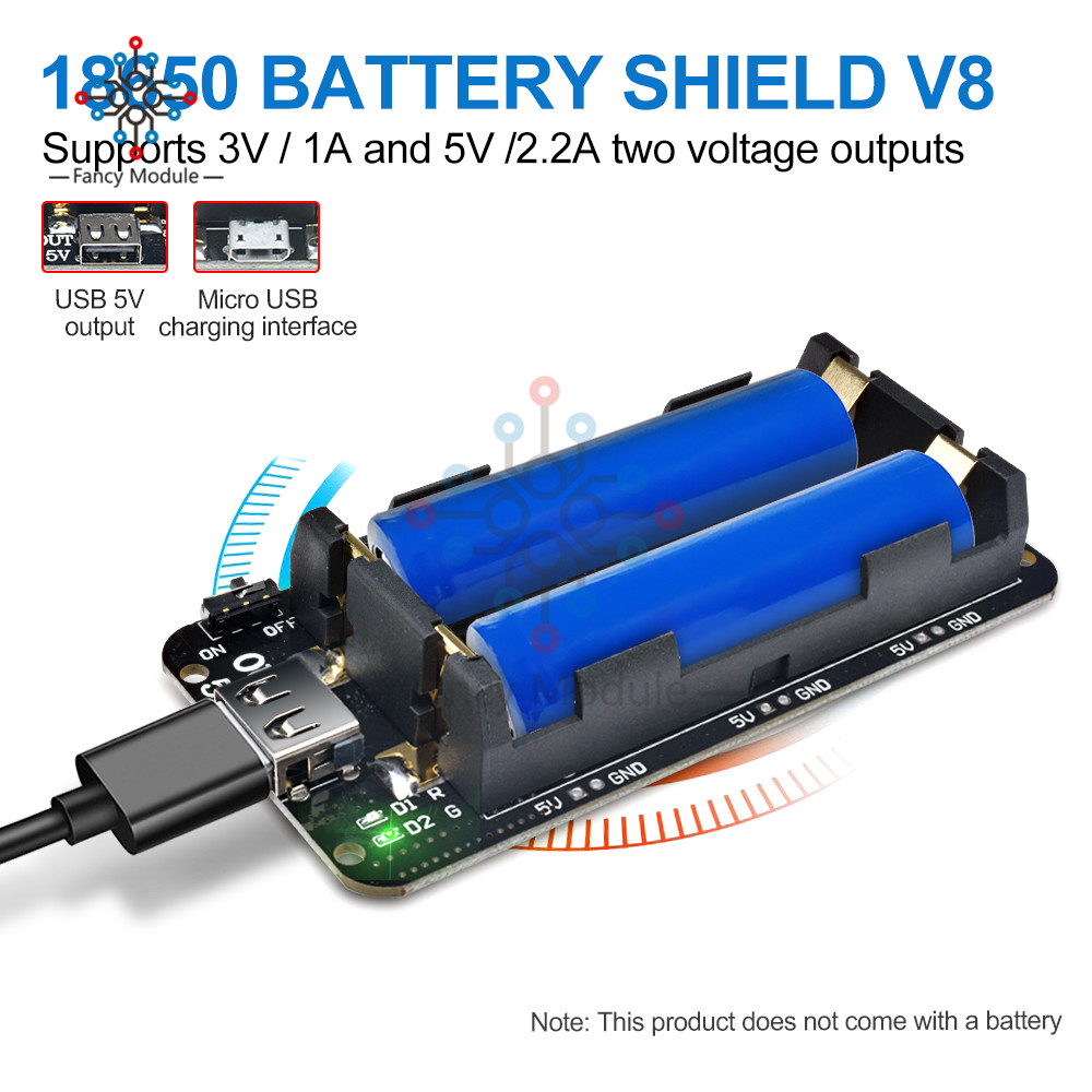 ESP8266 ESP32 Dual 18650 Lithium Battery Shield V8 5V/3A 3V/1A Mobile Power  Bank Battery Charging Module Micro USB For Arduino