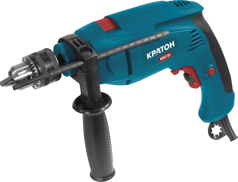 Drill KRATON PD-850K 850Vt 0-2900ob / min 13mm Reverse + drill, bits, head metric, in the case mayitr keyless 1 32 1 2 drill chuck self tighten with jt33 accurate light duty black lathe drill chucks 1 13mm 88 44mm