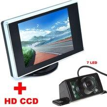 7LED HD CCD Автомобильная Камера Заднего вида + 3.5 дюймов Цветной ЖК-ДИСПЛЕЙ автомобиль Видео Монитор резервная Камера 2 в 1 Автоматическая система Помощи При Парковке