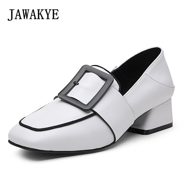 New fashion women shoes thick high heels Comfortable Single shoes woman Square Toe Metal Buckle spring Slip on loafer Pumps 2018 spring pointed toe thick heel pumps shoes for women brand designer slip on fashion sexy woman shoes high heels nysiani