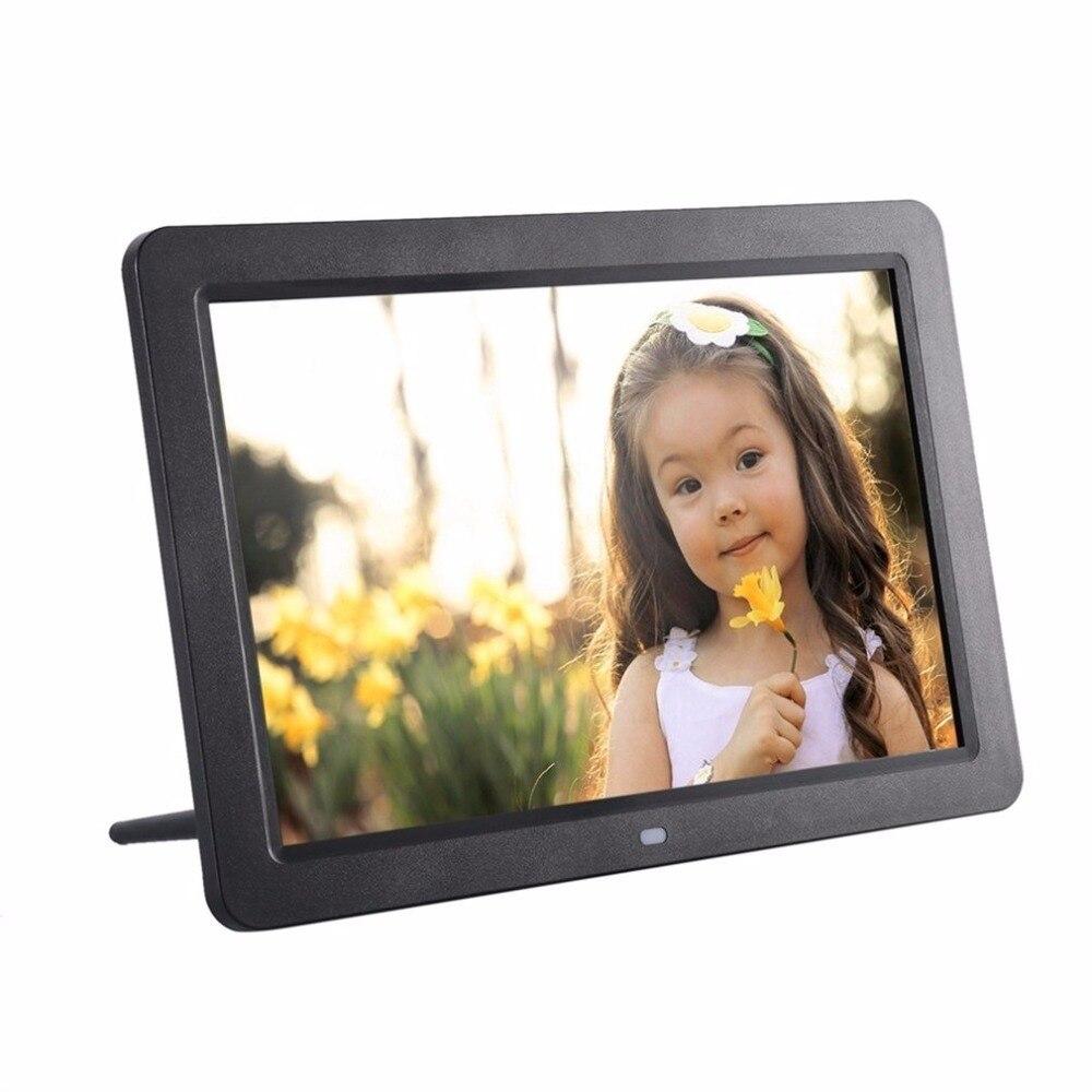 12 pantalla ancha HD LED marco de fotos Digital 1280*800 marco de fotos electrónico MP3 MP4 Player reloj con altavoces estéreo