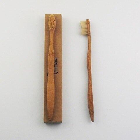 50 pecas de bambu pintado feito de madeira escova de dentes escova de dentes de