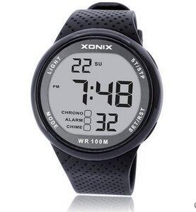 Image 1 - Erkek spor saat Dijital Su Geçirmez 100m Yüzme Izle led ışık Chronograph İşlevli Dalgıç Izle Açık Kol Saati