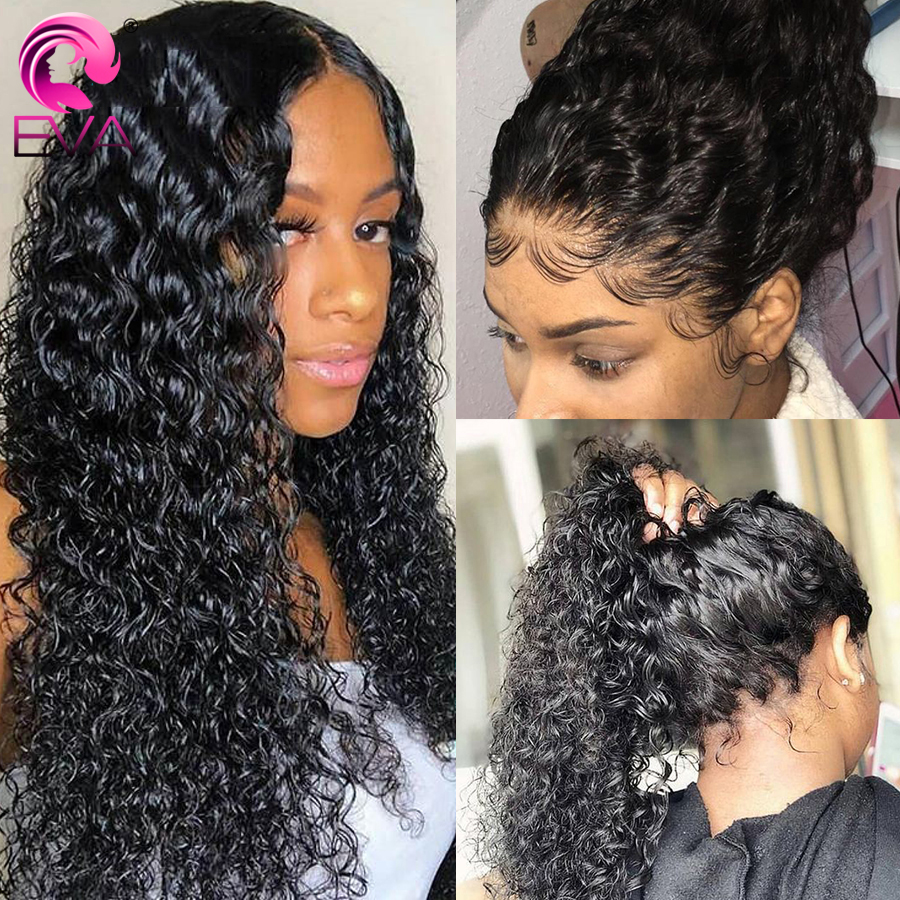 Glueless Lace Front Human Hair Wigs Pre Plucked With Baby Hair Curly Lace Front Wig For