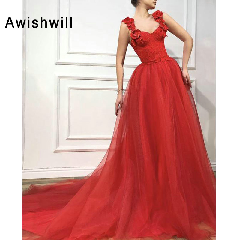 Custom made Red Long Prom Dress With 3D Flowers Lace Tulle A line Elegant Women Party