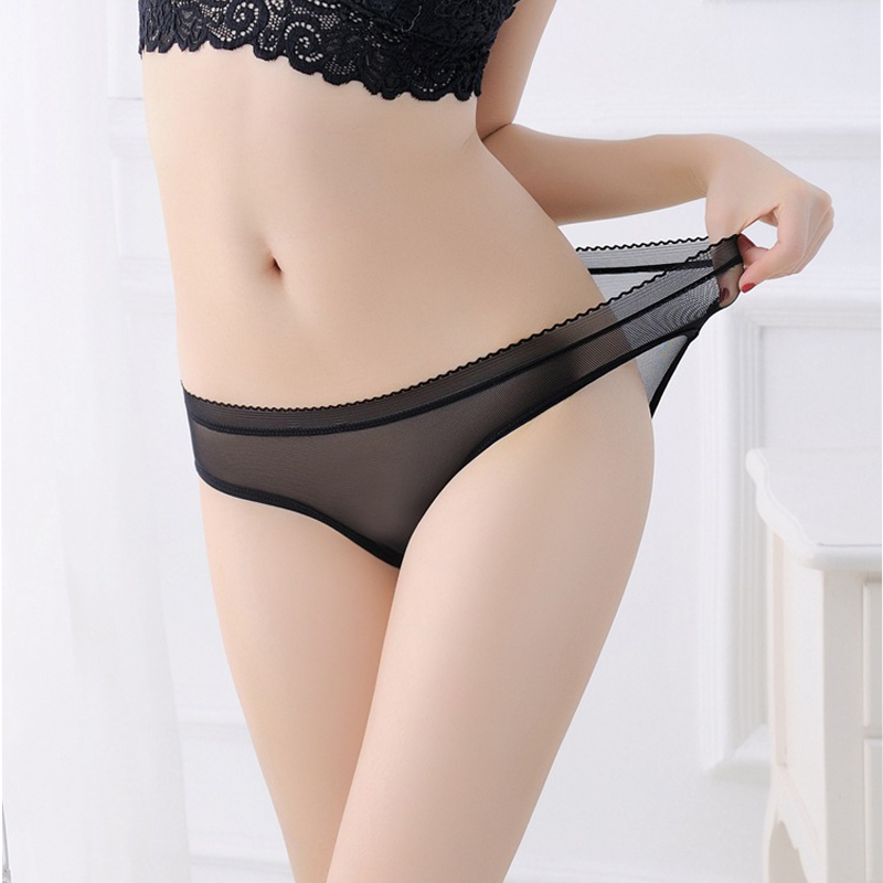 Sexy Lace   Panties   Soft Breathable Briefs Simple Sporty Style transparent underwear women g-string Thongs mesh fabric briefs