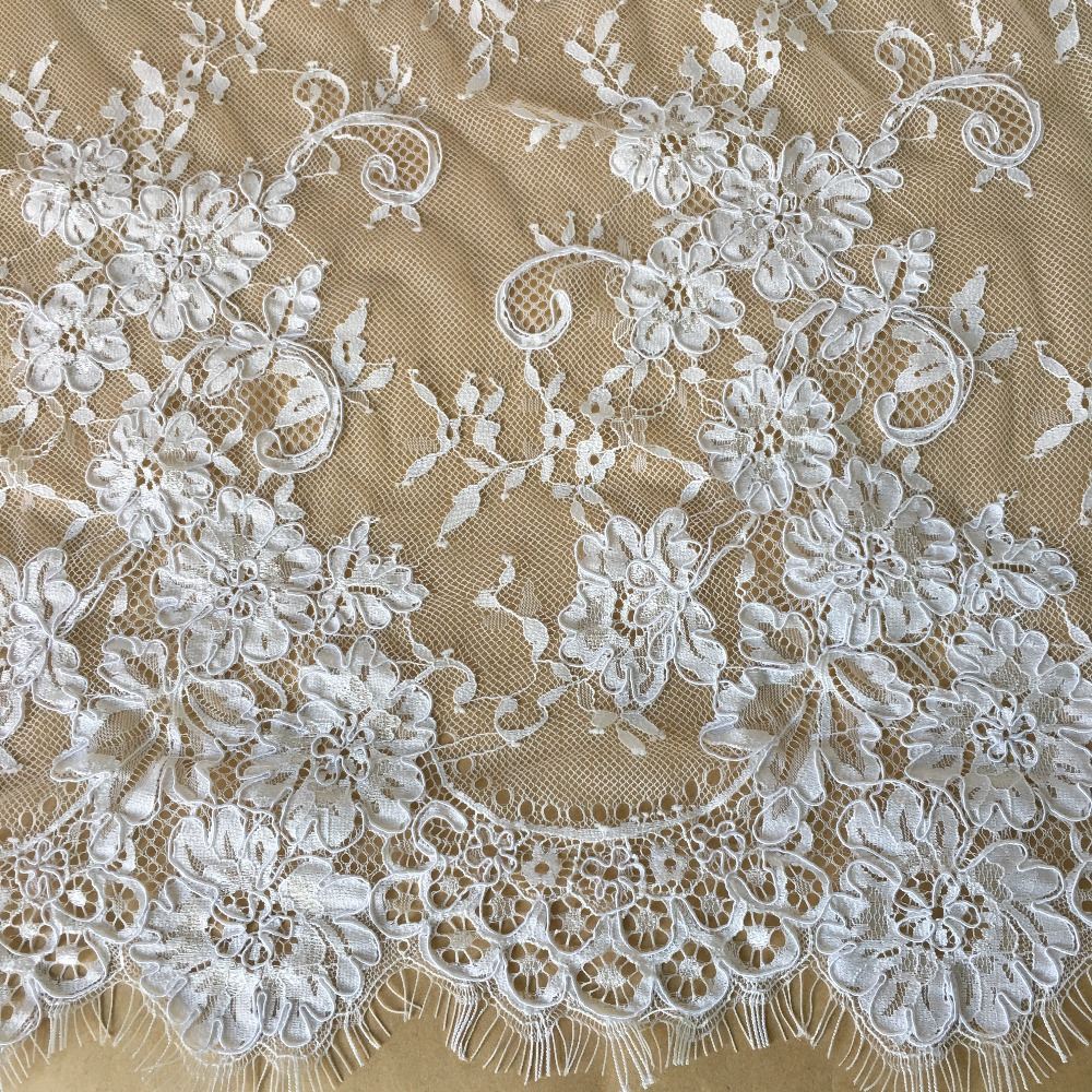 3m lot white flower french eyelash lace fabric 145cm wide diy exquisite lace embroidery clothes bridal