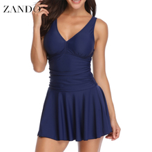 Zando New Plus Size Tankini set Women Swimwear Two Piece Print Halter Swimsuit Swimming Dress Bathing Suit S--3XL plus size halter pineapple tankini set