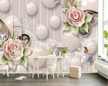 beibehang High quality beautiful wall paper white ball smoke modern fashion rose pattern background papel de parede 3d wallpaper