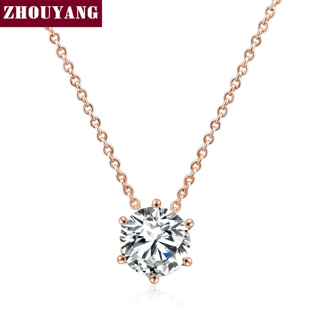 ada015e7c6e4 Calidad Superior simple seis garra CZ Rose oro color níquel COLLAR COLGANTE  libre cristal ZYN431 ZYN432