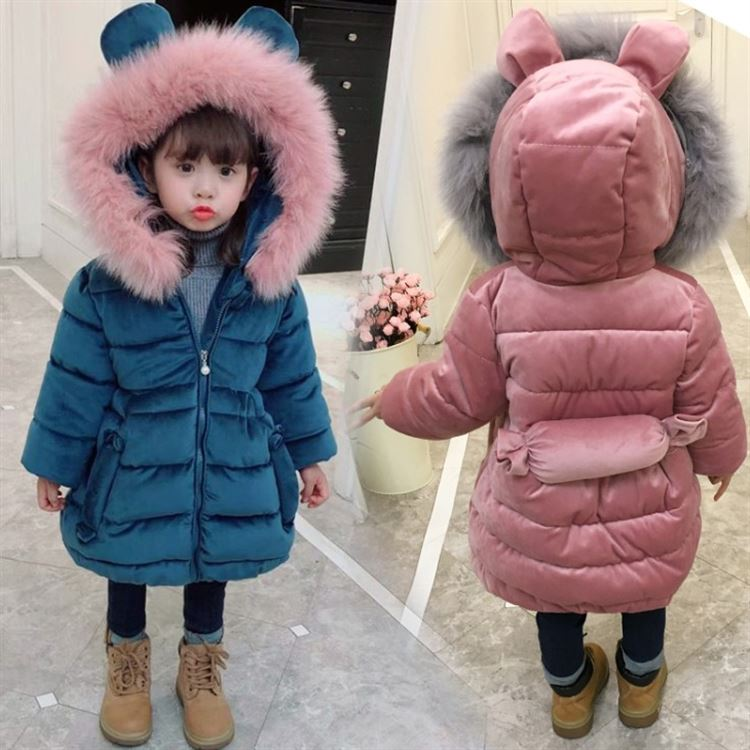 2018 Winter New Little Girls Thickening Cotton Padded Jacket With Waisted Design Kids Cute Wadded Coat Children's Outerwear A751 2015 new mori girl medium long thickening with a hood color block decoration cotton padded jacket wadded jacket
