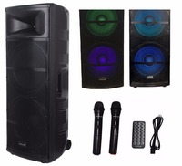 STARAUDIO SDMN 15RGB 5000W 15 Pro PA DJ Stage Powered Active USB SD FM BT Speaker with LED Light Dual 2CH Wireless Microphones