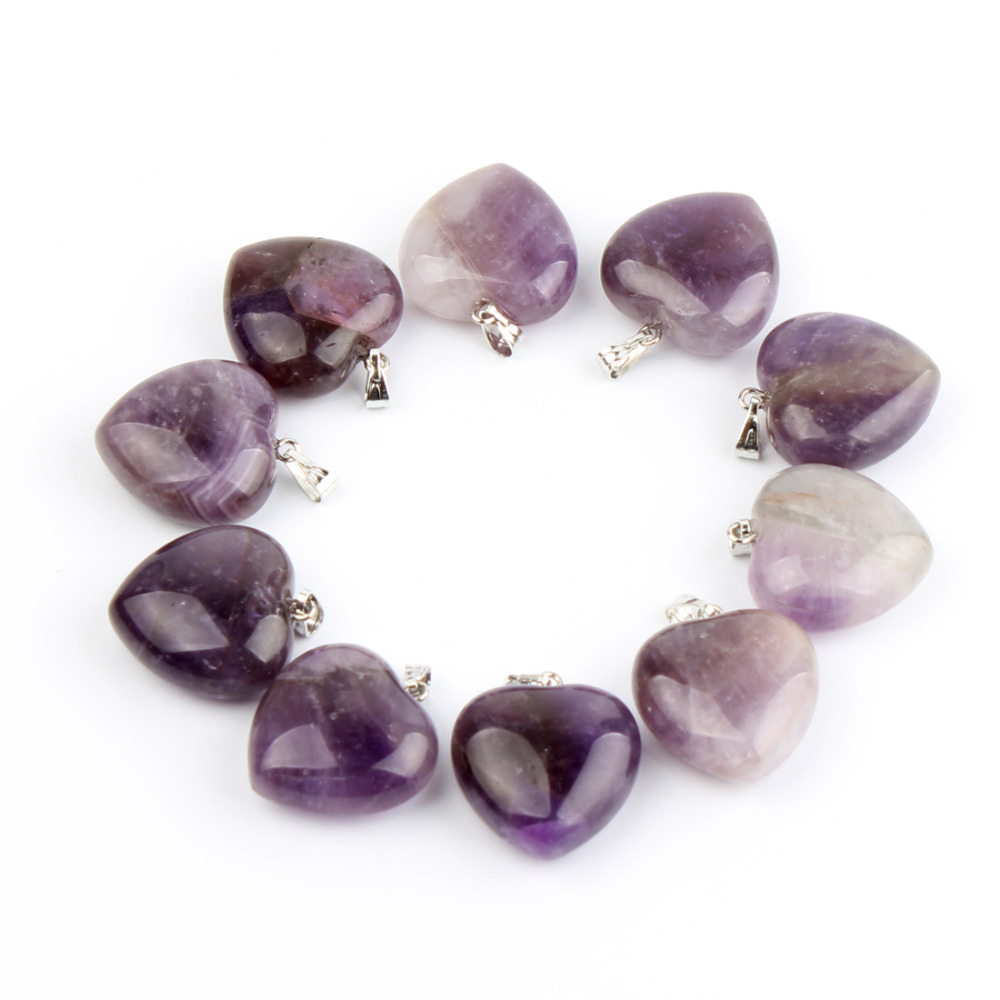 10pc Natural Stone Amethyst Heart Pendants Healing Crystal Reiki Aventurine Beads Women Popular Pendants Jewelry Gift Free Pouch