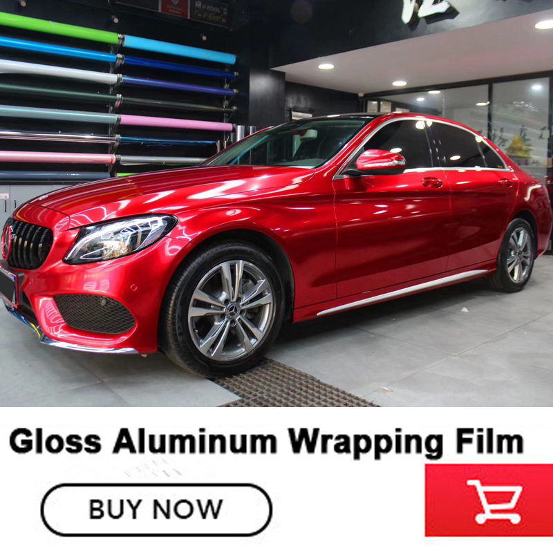 Più nuovo rosso Lucido Metallizzato Vinile dell'involucro Dell'automobile Styling Con La Bolla di Aria Gloss rosso In Alluminio Adesivo In Vinile di fascia Alta colla