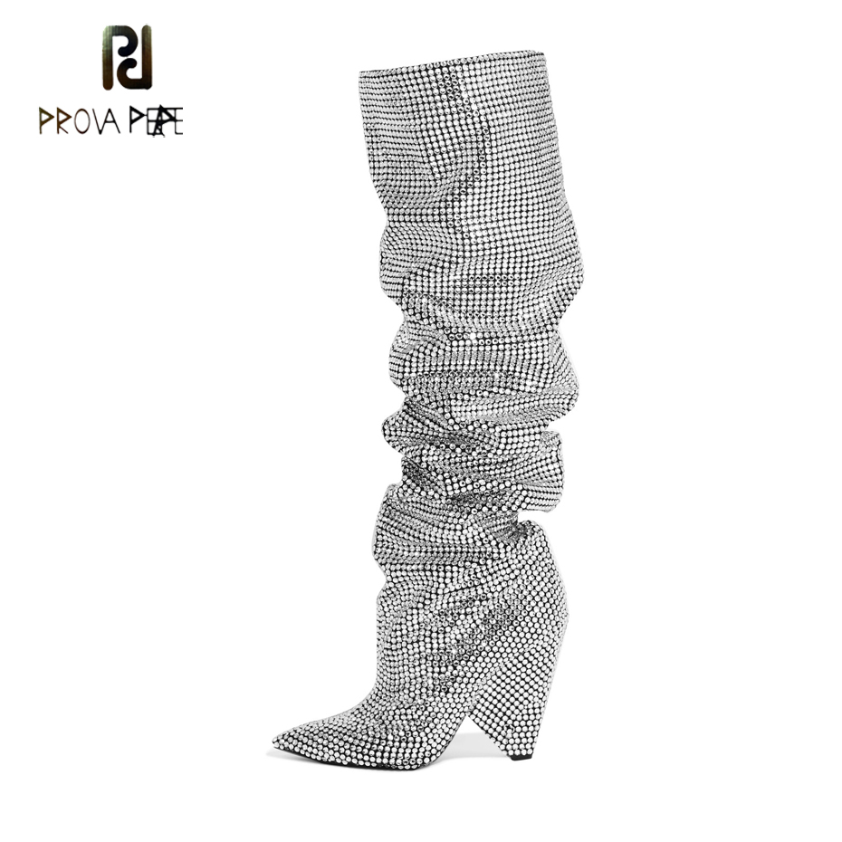 Prova Perfetto Luxury Crystal Women Pointd Toe Knee High Boots Sexy Chunky Heel Boots Slip On