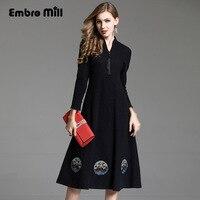 Высококачественное осенне зимнее платье винтажное Королевское свободное платье с вышивкой в стиле пэчворк модное женское Трикотажное Шер