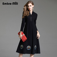 High end Autumn winter dress vintage royal embroidery loose patchwork dress fashion runway lady knitted wool dress M XXL