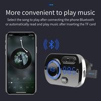 led music SRUIK Car FM Transmitter Fm Modulator Bluetooth 5.0 USB Car Charger Kit Hands-Free Calling Music Player Night Vision LED Light (2)