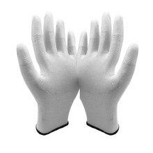 Nylon antiestática-Forro PU Branco Revestido Em Pontas do Dedo De malha de Carbono Luva ESD