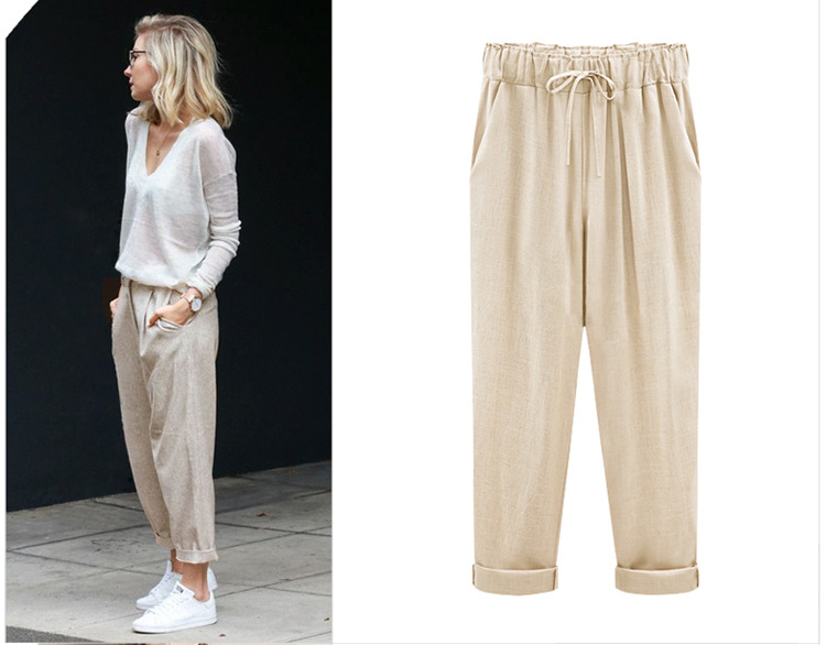 18 Wide Leg Pants Harem Pant Female Trousers Casual Spring Summer Loose Cotton Linen Overalls Pants Plus Size Candy Color 8