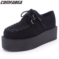 2016 Creepers Size 34 40 Women Shoes Woman Casual Chunky Flat Heel Platform Womens Flats Lace