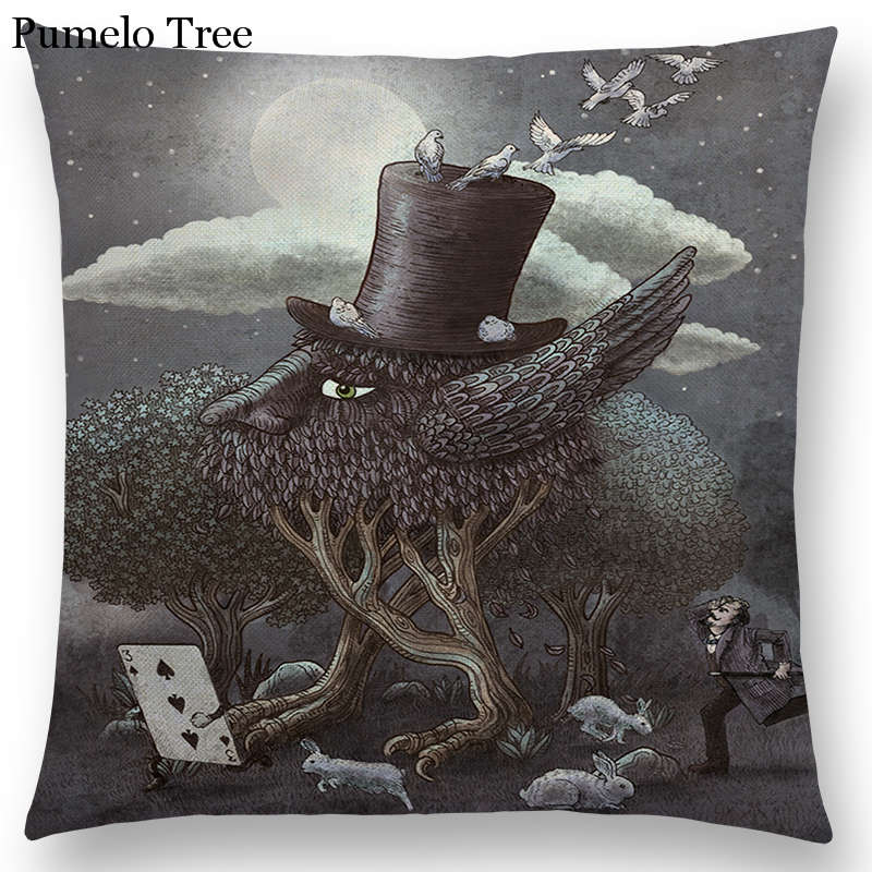 Submarine Telescope Steampunk Machinery Gentleman Cap Moon Prints Cushion Cover