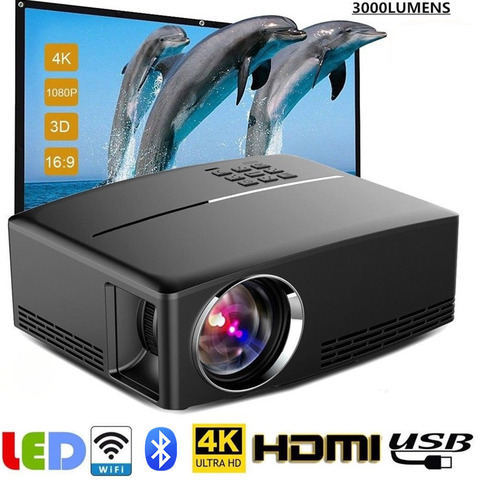 projetor sem fio led 4k hd 1080p wifi android 6 0 bluetooth hdmi home theater