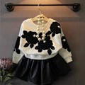 Spring Baby Girl Clothing Set Bow Cute Children Suit 2PCS Long-Sleeve Sweater Coat +Leather Skirt Princess For Baby Girls